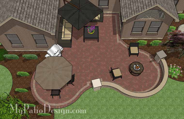 665 sq ft curvy courtyard patio design with seating wall