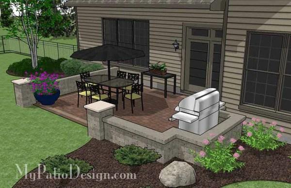 DIY Rectangular Patio Design with Seat Walls ... on Rectangular Backyard Design id=99376