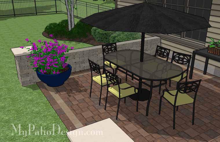 DIY Rectangular Patio Design with Seat Walls ... on Rectangle Patio Ideas id=89705