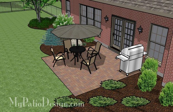 DIY Small Brick Patio Design | Downloadable Plan ... on Small Backyard Brick Patio Ideas  id=87241