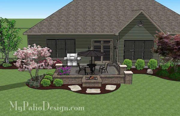 DIY Square Brick Patio Design with Fire Pit | Downloadable ... on Square Patio Designs  id=28996