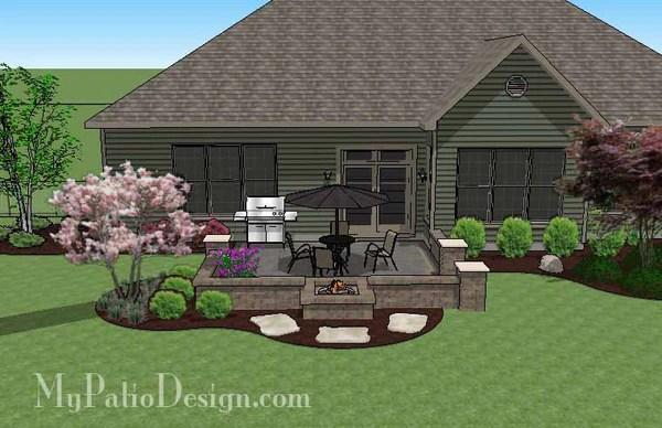 Diy Square Brick Patio Design With Fire Pit Downloadable