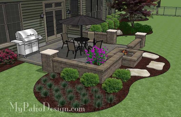 DIY Square Brick Patio Design with Fire Pit | Downloadable ... on Square Patio Designs  id=23942