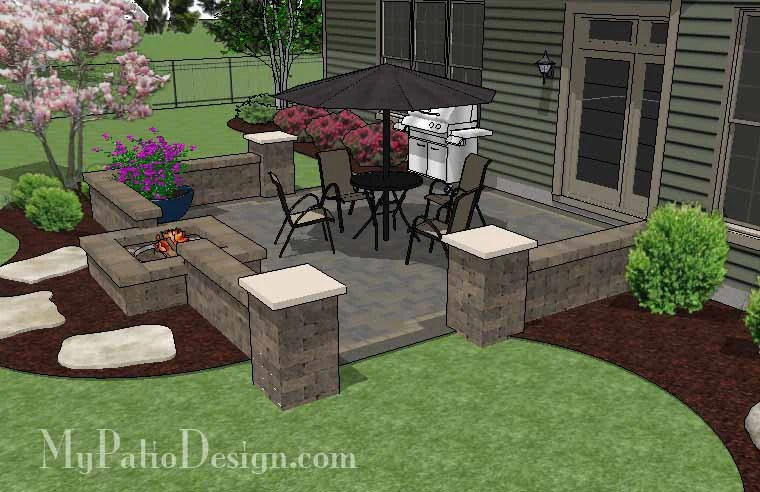 DIY Square Brick Patio Design with Fire Pit | Downloadable ... on Square Patio Designs  id=45919