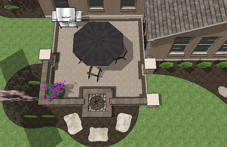 DIY Square Brick Patio Design with Seat Walls and Fire Pit ... on Square Patio Designs  id=48907