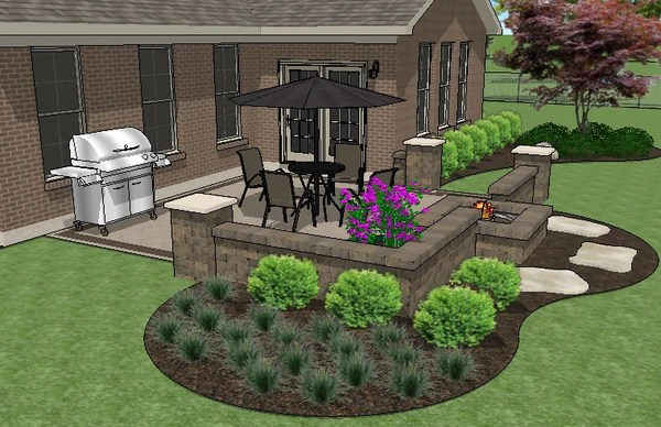 DIY Square Brick Patio Design with Seat Walls and Fire Pit ... on Square Patio Designs  id=99766