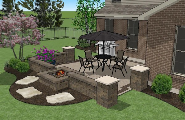 DIY Square Brick Patio Design with Seat Walls and Fire Pit ... on Square Concrete Patio Ideas  id=30105
