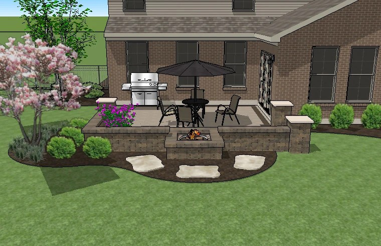 DIY Square Brick Patio Design with Seat Walls and Fire Pit ... on Square Patio Designs  id=15856