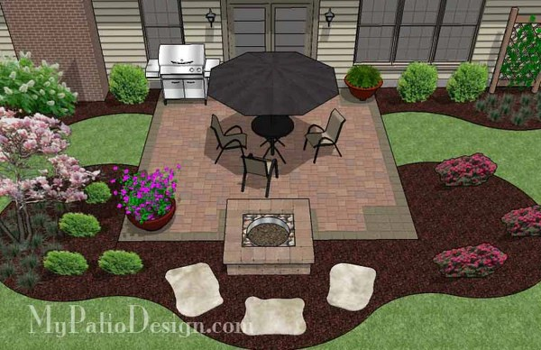 DIY Square Patio Design with Fire Pit | Download Plan ... on Square Concrete Patio Ideas id=82785