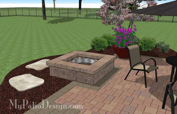 DIY Square Patio Design with Fire Pit | Download Plan ... on Square Patio Designs  id=62572