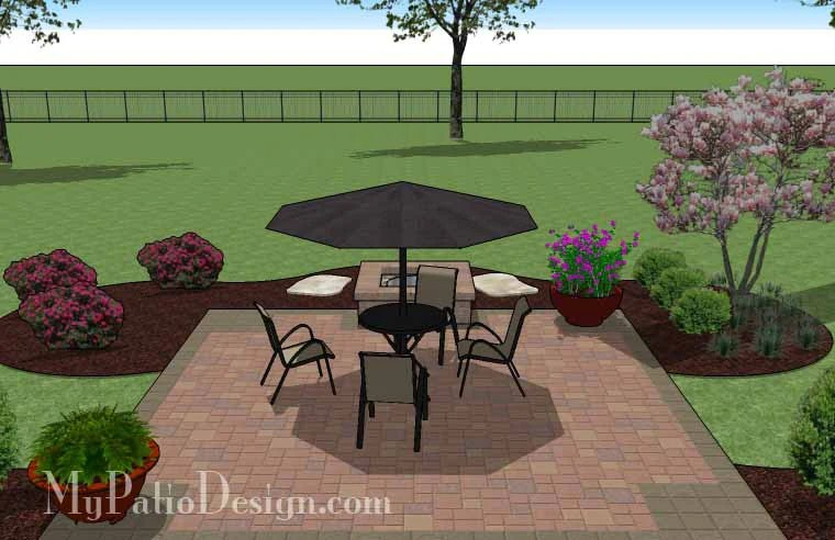 DIY Square Patio Design with Fire Pit | Download Plan ... on Square Patio Designs  id=37240