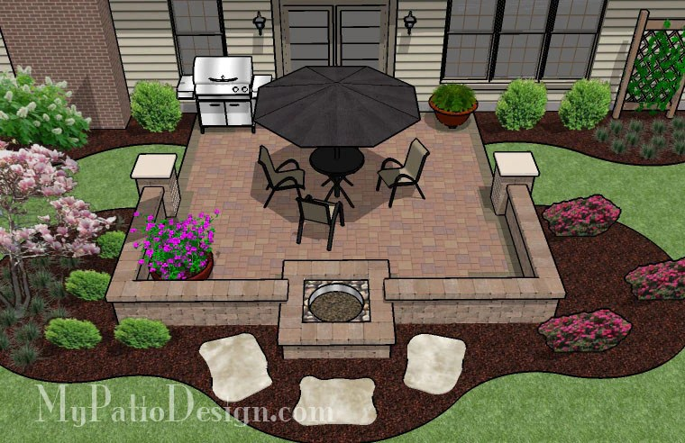 320 sq. ft. - DIY Square Patio Design with Seat Wall and ... on Square Patio Designs  id=39495