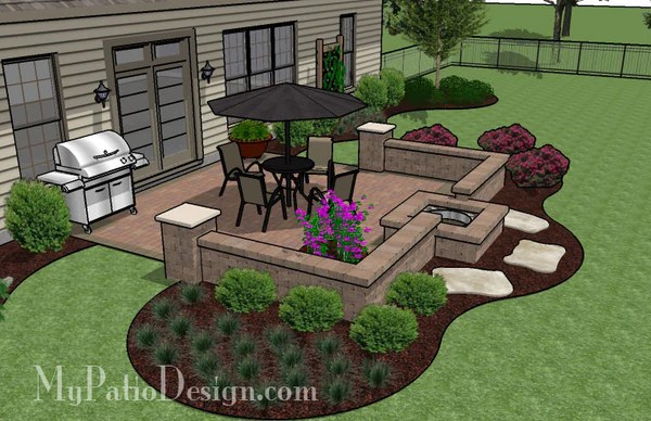 320 sq. ft. - DIY Square Patio Design with Seat Wall and ... on Square Patio Designs  id=97699