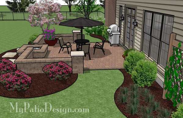 320 sq. ft. - DIY Square Patio Design with Seat Wall and ... on Square Patio Designs  id=81728