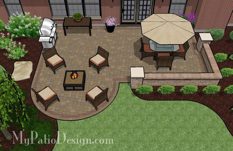 Dreamy Paver Patio Design with Seat Wall | Download Plan ... on Patio Layouts  id=43580