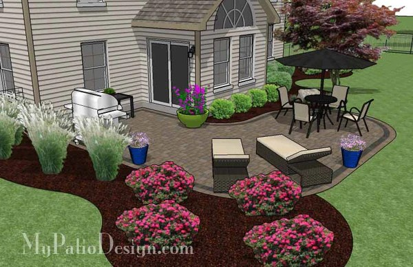 L Shaped Patio Design | Patio Layout and Material List ... on Patio Shape Designs id=91731