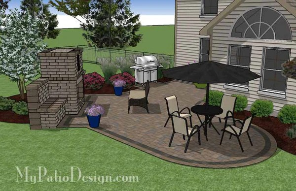 L Shaped Patio Design with Fireplace   Download Plan ... on L Shaped Backyard Layout id=71105