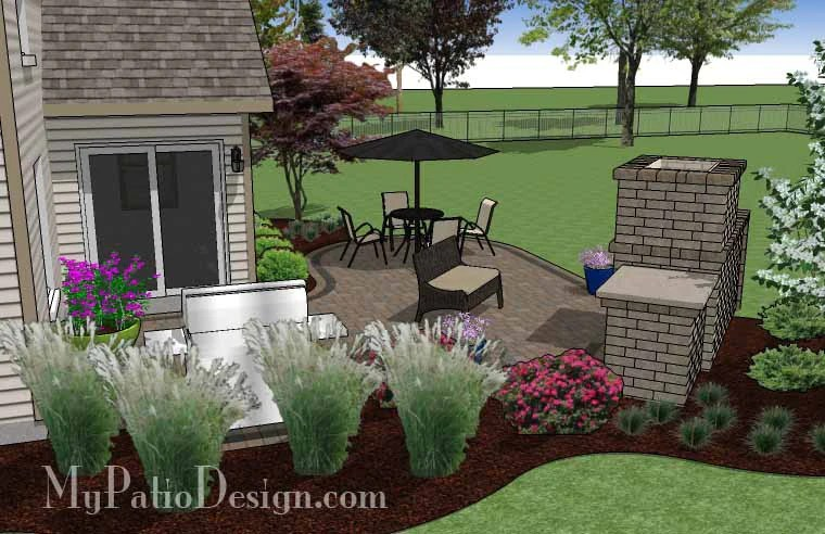 L Shaped Patio Design with Fireplace | Download Plan ... on Patio Shape Designs id=73652