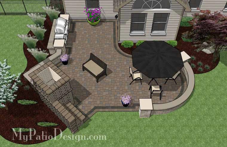430 sq. ft. - L Shaped Patio Design with Grill Station and ... on Patio Grill Station  id=83758