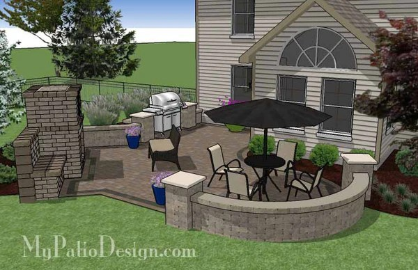 430 sq. ft. - L Shaped Patio Design with Grill Station and ... on Patio Shape Designs id=66914