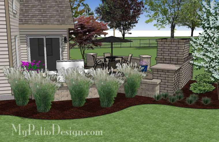 430 sq. ft. - L Shaped Patio Design with Grill Station and ... on L Shaped Patio Ideas id=11847