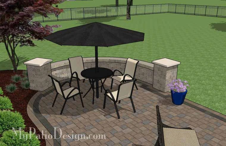 L Shaped Patio Design with Grill Station and Fireplace ... on L Shaped Backyard Layout id=58214