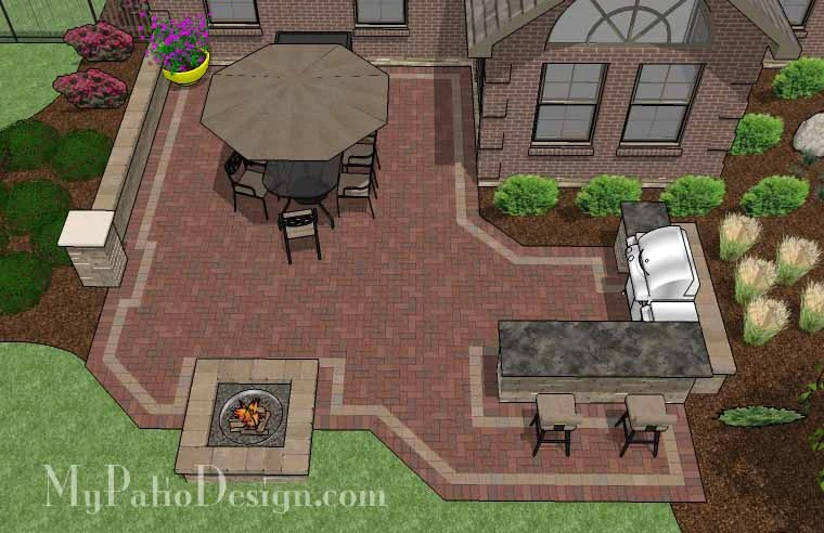 Large Brick Patio Design with Grill Station-Bar ... on Patio Grill Station  id=81594