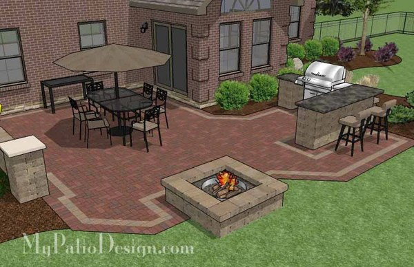 Large Brick Patio Design with Grill Station-Bar ... on Patio Grilling Area  id=52847