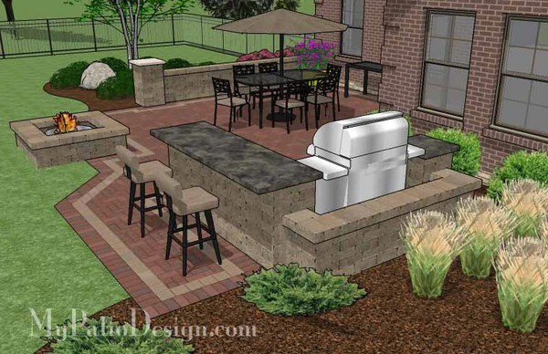Large Brick Patio Design with Grill Station-Bar ... on My Patio Design id=51848