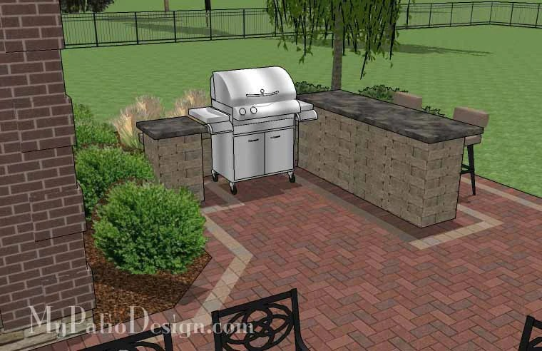 Large Brick Patio Design with Grill Station-Bar ... on Patio Grill Station  id=77254