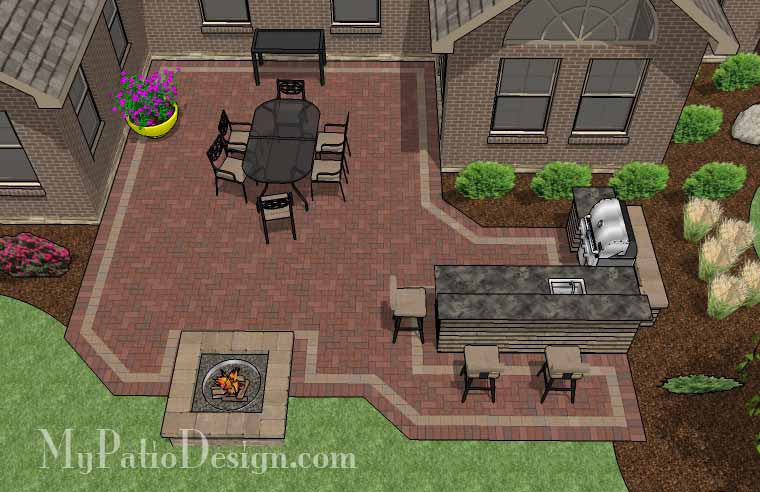 505 sq. ft. - Large Courtyard Brick Patio Design with ... on Patio Shape Designs id=23686