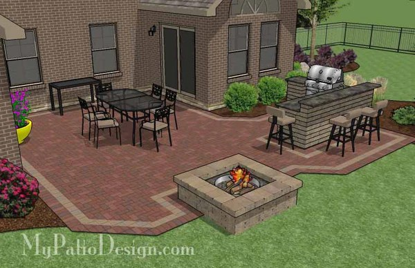 505 sq. ft. - Large Courtyard Brick Patio Design with ... on Small Backyard Brick Patio Ideas id=67341