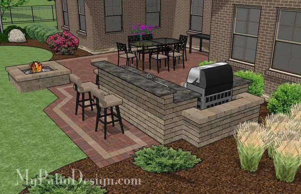 brick patio with outdoor kitchen 505 sq. ft. - Large Courtyard Brick Patio Design with