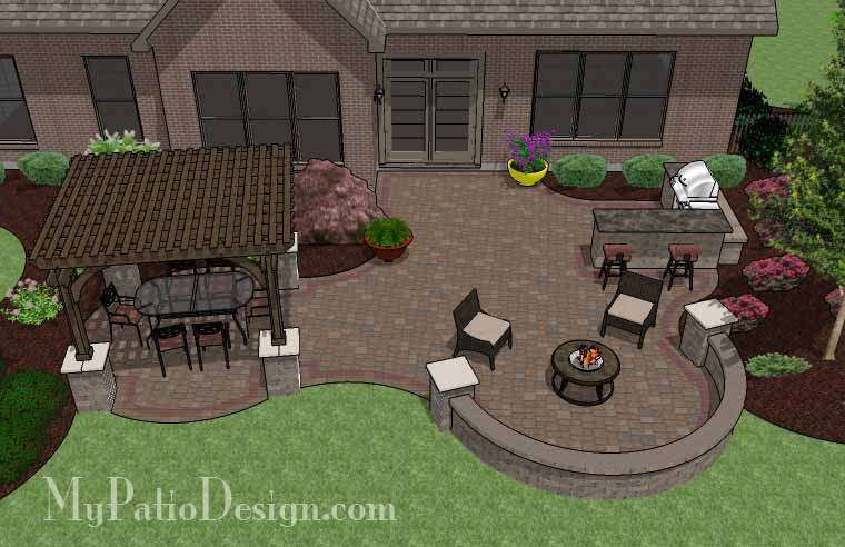 Large Curvy Patio Design with Grill Station and Pergola ... on Patio Grill Station  id=66410