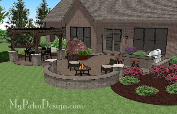 Large Curvy Patio Design with Grill Station and Pergola ... on Patio Grill Station  id=80937