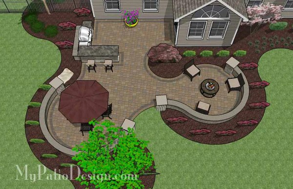 Large Paver Patio Design with Grill Station & Seat Walls ... on Patio Grill Station  id=83267