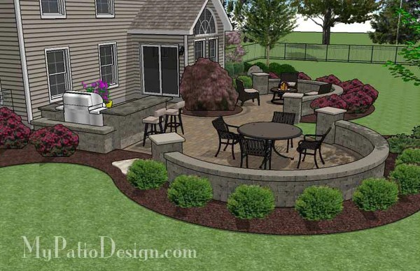 Large Paver Patio Design with Grill Station & Seat Walls ... on My Patio Design id=78030