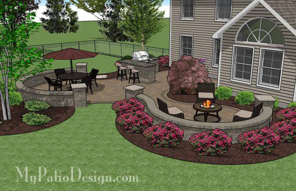 Large Paver Patio Design with Grill Station & Seat Walls ... on My Patio Design  id=60479