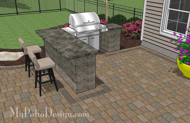 Large Paver Patio Design with Grill Station & Seat Walls ... on Patio Grill Station  id=59846