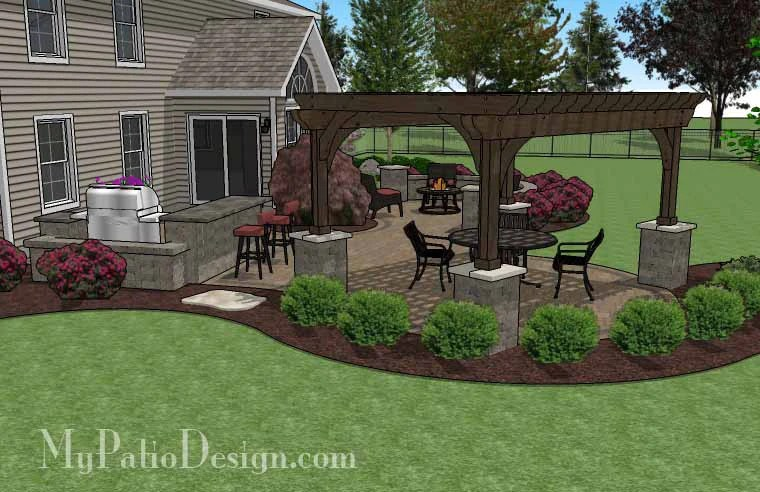 Large Paver Patio Design with Pergola and Grill Station ... on Patio Grill Station  id=57464