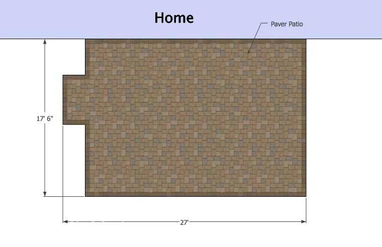 Large Rectangular Paver Patio Design | Download Plan ... on Rectangle Patio Ideas  id=74396