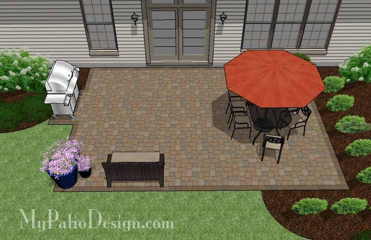 Large Rectangular Paver Patio Design | Download Plan ... on Rectangular Backyard Design id=85491