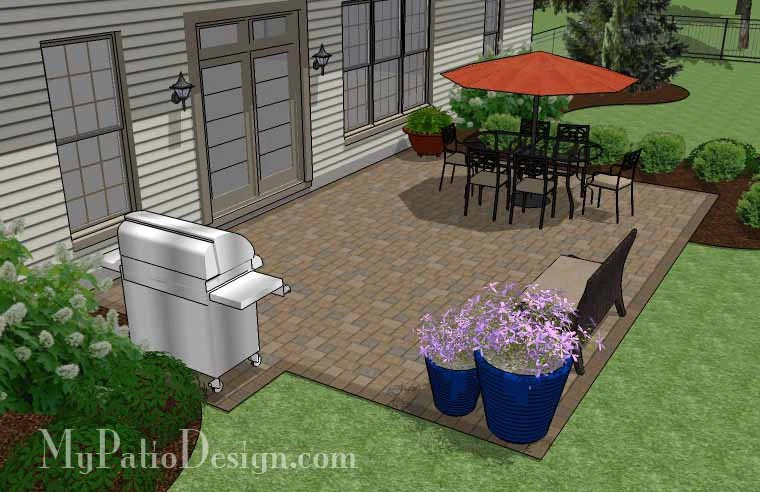 Large Rectangular Paver Patio Design | Download Plan ... on Landscaping Ideas For Rectangular Backyard  id=85197