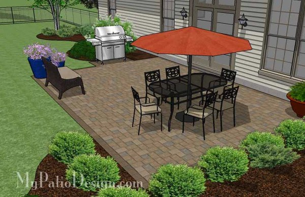 Large Rectangular Paver Patio Design | Download Plan ... on Landscaping Ideas For Rectangular Backyard  id=82025