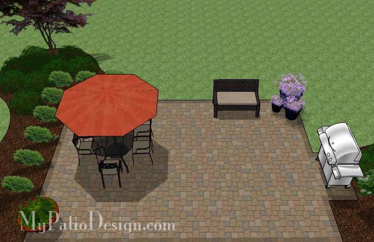 Large Rectangular Paver Patio Design | Download Plan ... on Rectangle Patio Ideas id=85076