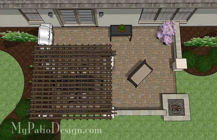 Large Rectangular Paver Patio Design with Fire Pit ... on Rectangle Patio Ideas id=11677