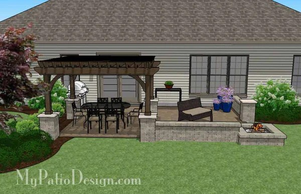 Large Rectangular Paver Patio Design with Fire Pit ... on Rectangle Patio Ideas id=17178