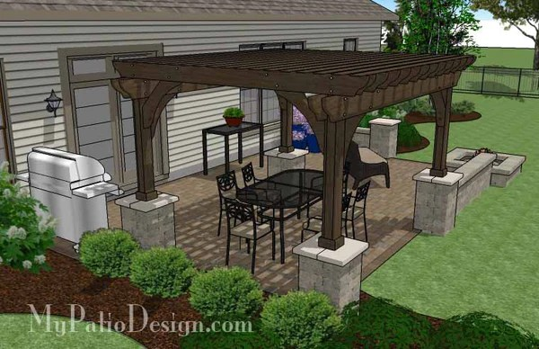 Large Rectangular Paver Patio Design with Fire Pit ... on Rectangle Patio Ideas  id=85934