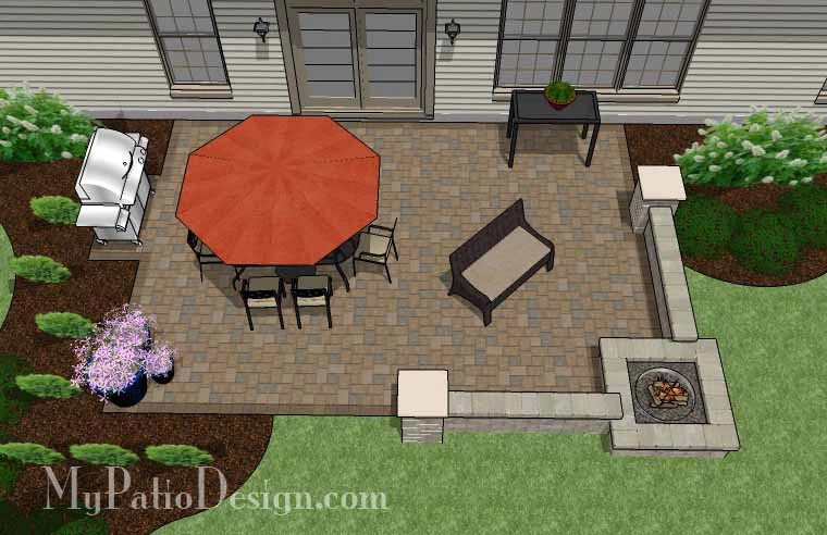 Large Rectangular Paver Patio Design with Fire Pit ... on Paver Patio Designs With Fire Pit id=29492
