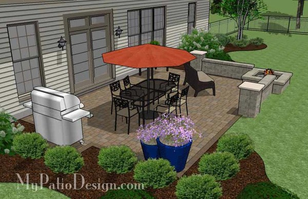 Large Rectangular Paver Patio Design with Fire Pit ... on Rectangle Patio Ideas  id=39309